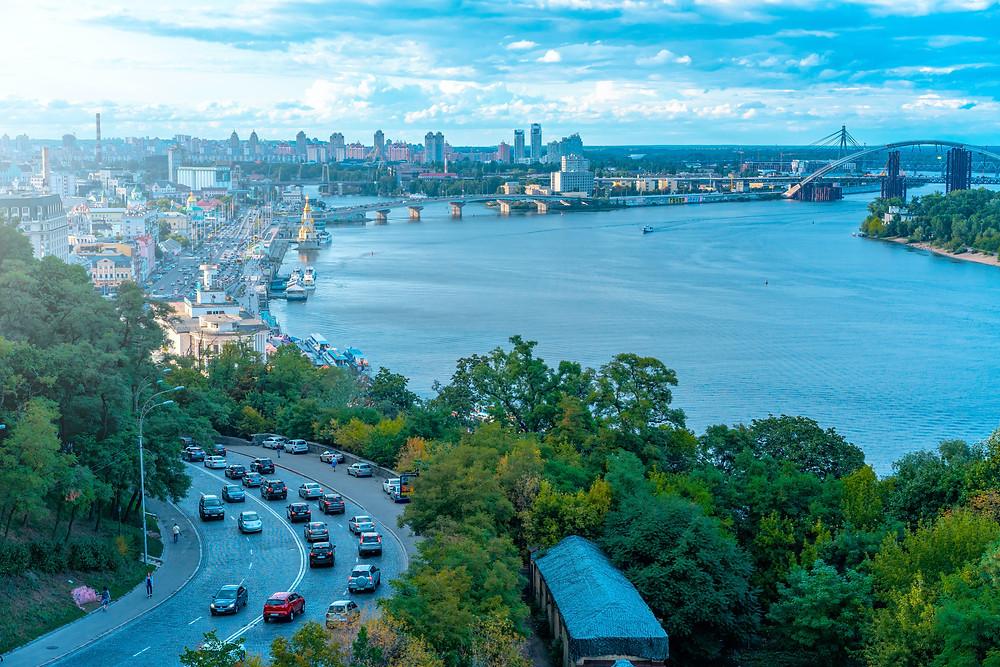 Kyiv, Ukraine drone shot skyline