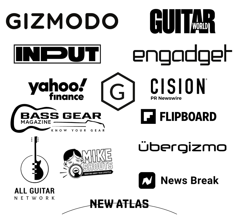 Various guitar and tech publications logos