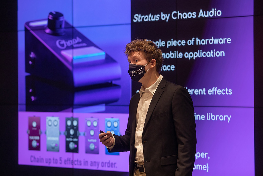 Landon McCoy CEO presenting for Chaos Audio Stratus