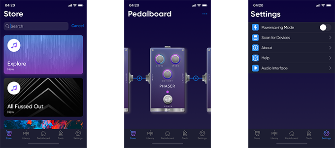 screenshots mobile app guitar pedal