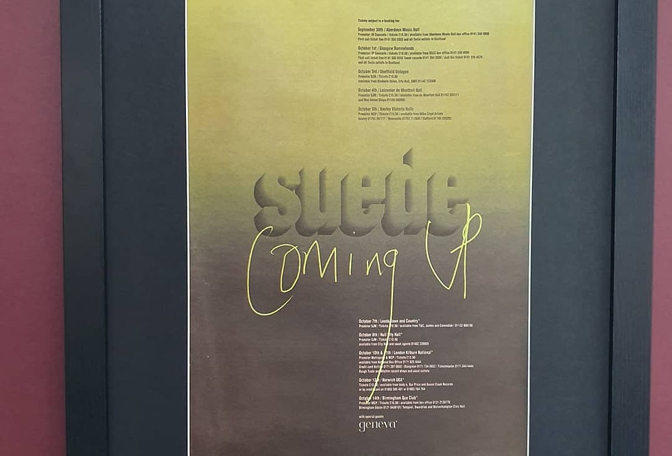 Suede Coming Up tour framed promo advert