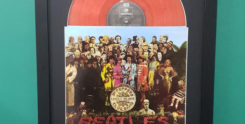 The Beatles Sgt Peppers vinyl album display