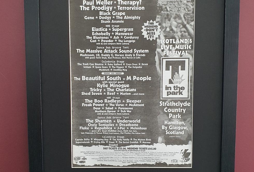 T IN THE PARK 95 framed promo advert