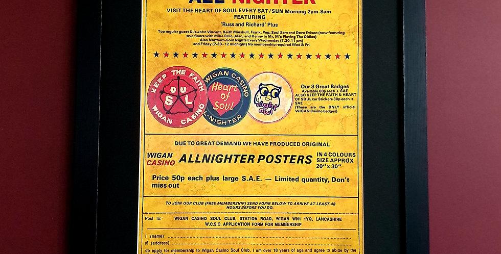 Wigan Casino All-Nighter Framed poster