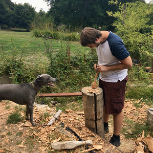 Whittling with Blue's help