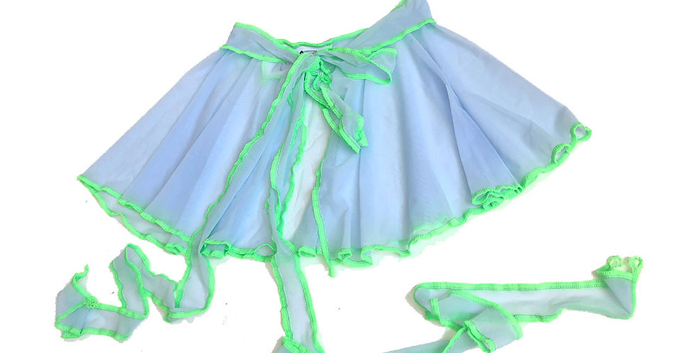 BLUE / GREEN ( S ) FAERIE WRAP SKIRT