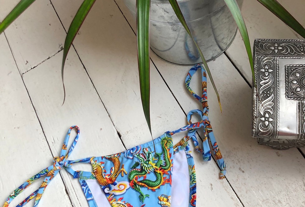 Sale -  blue dragon tie up bottoms - small