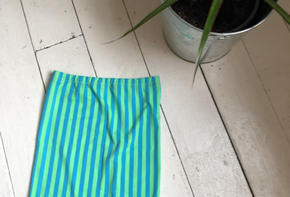 SALE - green and blue tube top/skirt XS