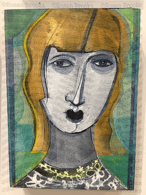 Painting: woman's face 593