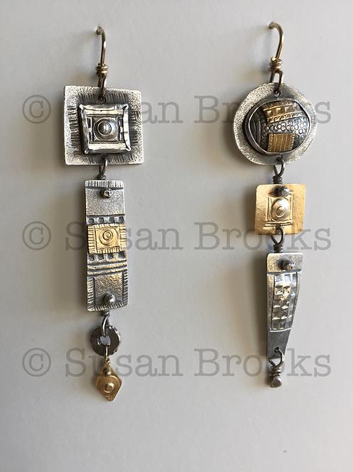 Asymmetrical earrings: silver, gold 604