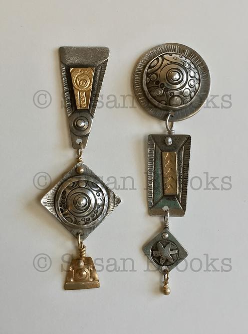 Asymmetrical earrings: silver, gold 598