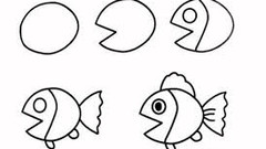 Easy Fish Drawing for Kids- Step by Step