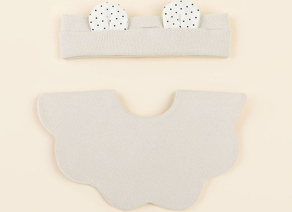 Creamy Baby Bib + Hairband Set