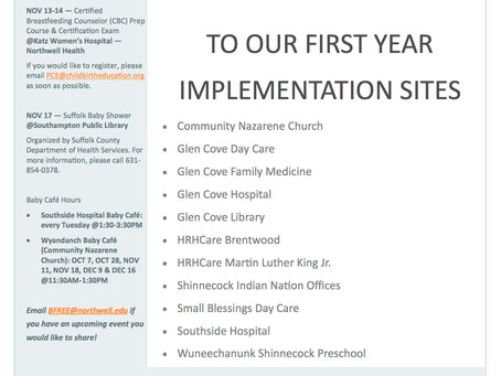 Upcoming Events & First Year Implementation Sites