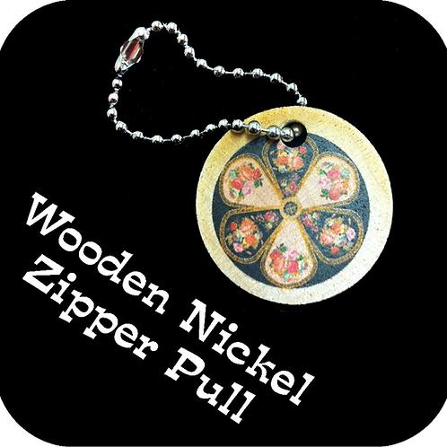 Wooden Nickel Zipper Pull