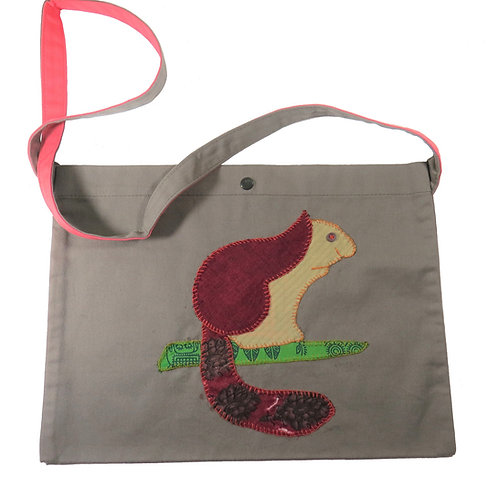 Giant Squirrel Applique Office Bag