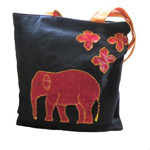 Elephant Applique Tote Bag