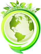 A Globe with leaves around it signifying a green planet