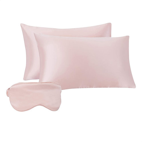 Satin Sleep Set for Hair and Skin , Eye-mask, and Travel Pouch