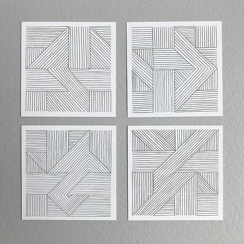 ikken déco - 4 cartes Lignes assorties