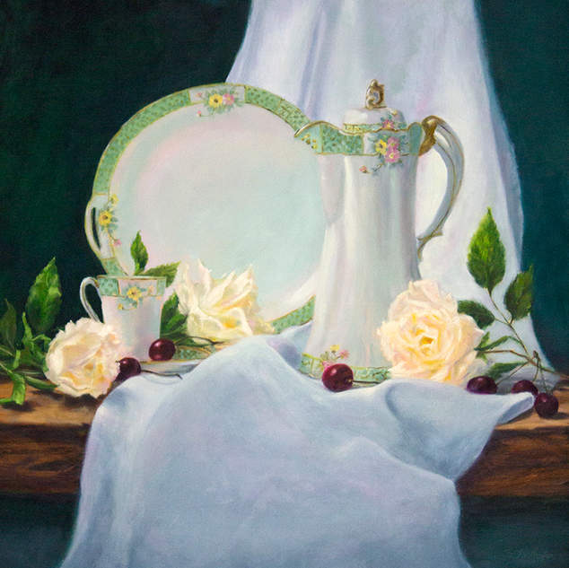 Chocolate Pot and Roses in White 24x24.j