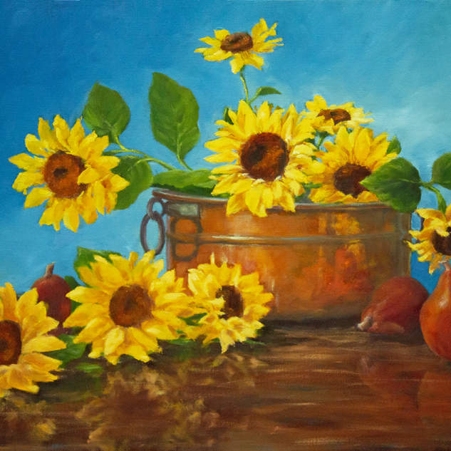 Sunflowers Pears & Copper 18x24.jpg