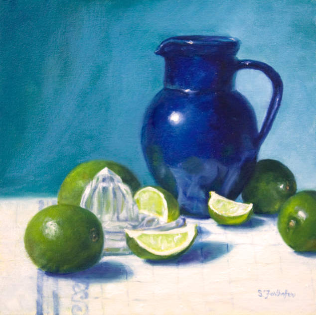 Blue Pitcher and Limes 12x12.jpg