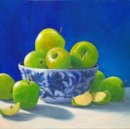 Blue Bowl & Granny Smith Apples 18x24.jp