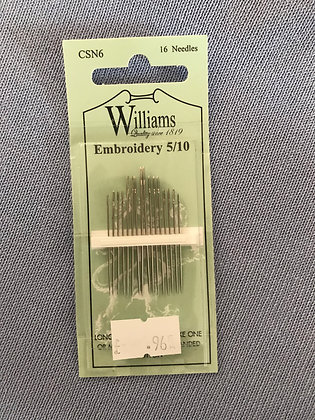Williams Sewing Needles Embroidery 5/10