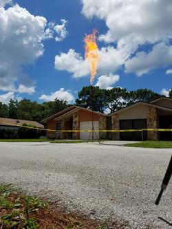 Under ground tank gas burn off