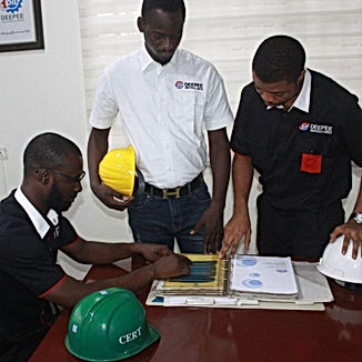 Deepee team inspecting product manuals.j