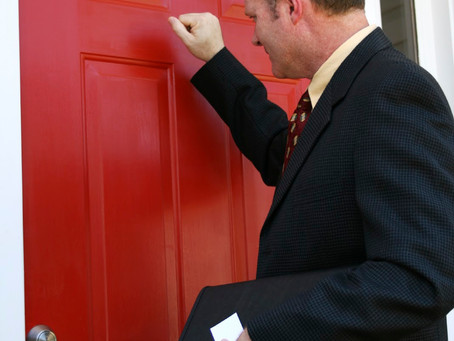 What should you do if you receive a calling card at your door?