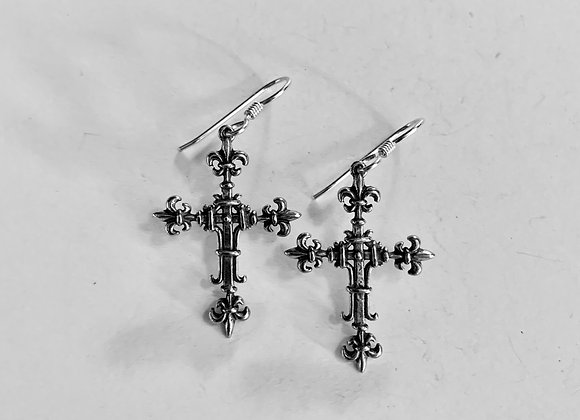 Fleur de Leis Cross Earrings