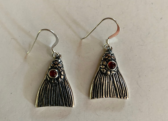 Redfish Tail Earrings W/Red Stone