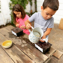 Lucia & Monty Martinez, Ages 7 & 5, Watering Kits (Image: getstarted)