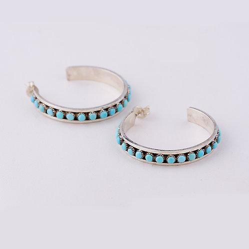 Zuni Turquoise Hoop Earrings ER-0165