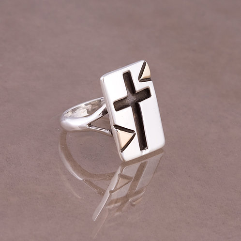 Ron Henry Sterling/14k Cross Ring RG-0006