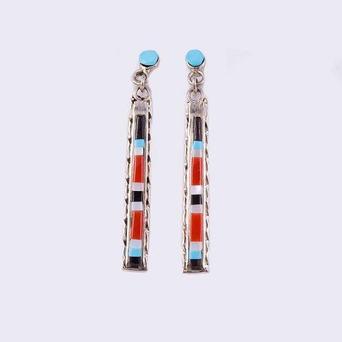 Zuni Multi Inlay Dangle Earrings ER-0032