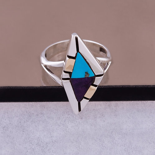 Ron Henry Sterling/14k Multi Inlay Ring RG-0011