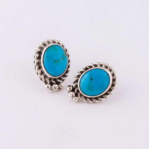 Navajo Sterling Turquoise Earrings ER-0138