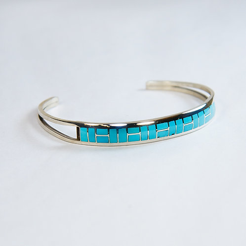 Sterling Silver Inlay Turquoise Bracelet BR-0007