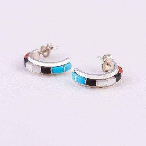 Zuni Sterling Multi Inlay Hoop Earrings ER-0257