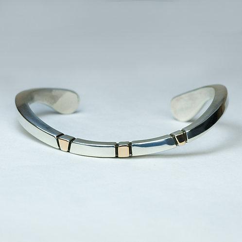 Ron Henry Sterling and 14k Navajo bracelet BR-0069