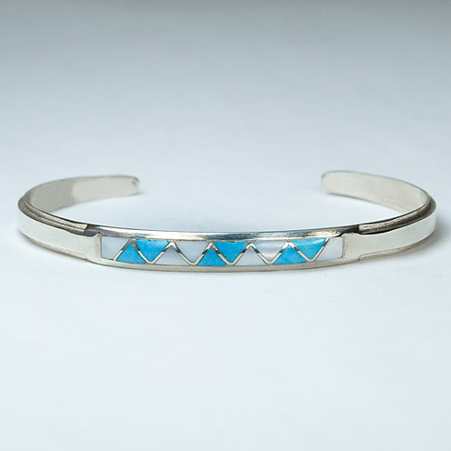 Zuni Sterling Inlaid Bracelet BR-0042