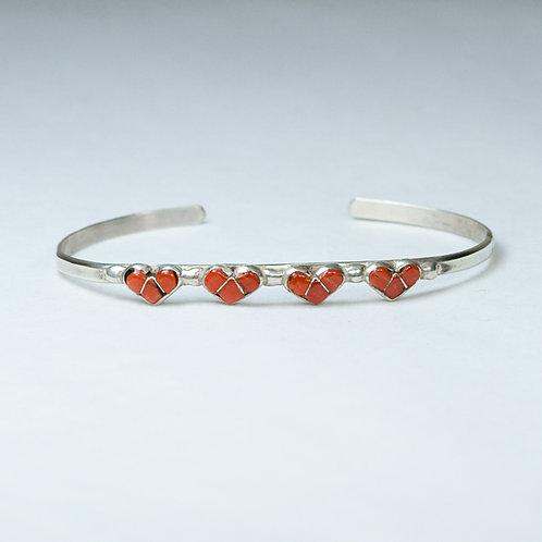 Zuni Inlay Coral Bracelet BR-0040