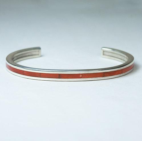 Zuni Inlay Coral Bracelet BR-0046
