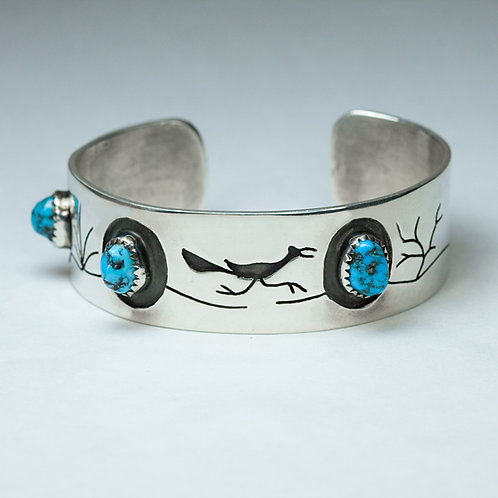 Sterling Navajo RoadRunner Bracelet BR-0064
