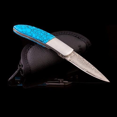 Custom Damascus Folding Knife JWK-0011