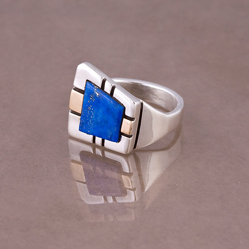 Ron Henry Sterling/14k  Lapis  Ring RG-0013