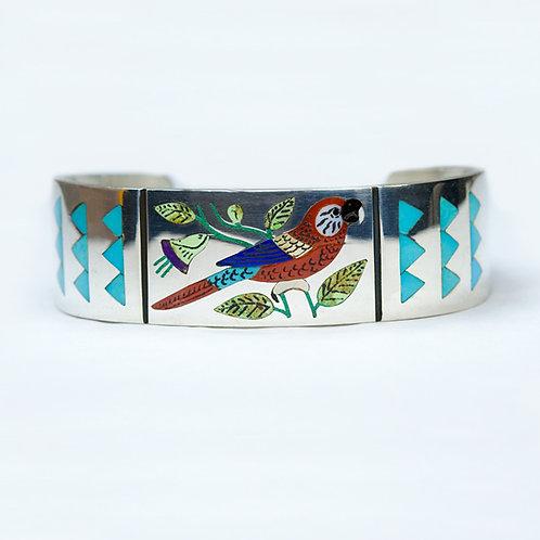 Zuni Sterling Inlay Parrot Bracelet BR-0136